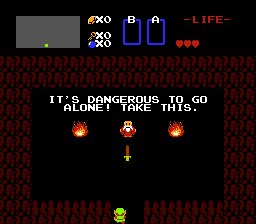 Screenshot of The Legend of Zelda, showing a famous scene, in which Link receives a wooden sword from a nameless old man.