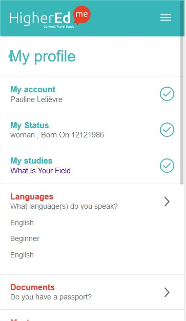profile mobile view of HigherEdMe Student Account